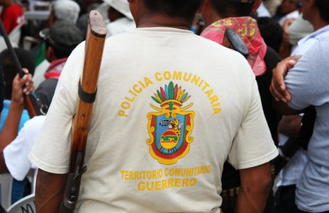 A member of the Ayutla self-defence force