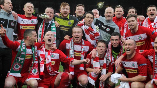 Cliftonville celebrate winning the Irish Premiership