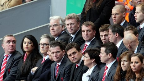 Liverpool FC owner John Henry (front row third left); Everton FC chairman Bill Kenwright (middle row left) and Everton manager David Moyes (middle row second left); Liverpool manager Brendan Rodgers (middle row third left) and player Steven Gerrard (middle row fourth left)