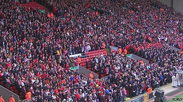 Crowds in stands at Anfield