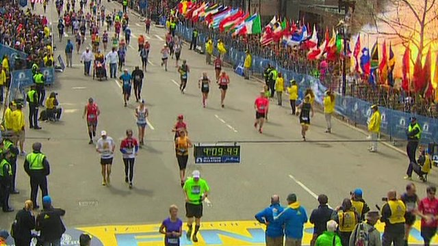 Moment of explosion at Boston marathon