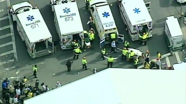 Ambulances at the scene in Boston