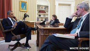 President Barack Obama is briefed on 15 April 2013