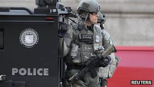 A Massachusetts state police troops in Boston