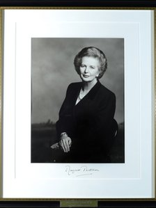 The official portrait of Baroness Thatcher on the staircase of 10 Downing Street