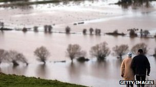 Flooding on the Somerset Levels at Glastonbury
