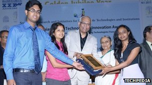 The team - (left to right) Niladhri Basu Bal, Rimpi Tripathi and Manisha Mohan collect a Gandhian Young Technological Innovation Award