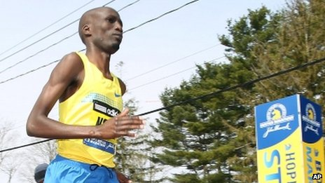 Wesley Korir running in the Boston Marathon