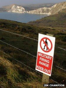 Lulworth firing range sign