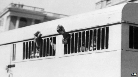 A prison van transporting anti-apartheid activists including Nelson Mandela