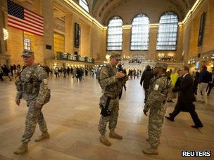 US soldiers patrol Grand Central Terminal in New York on April 16