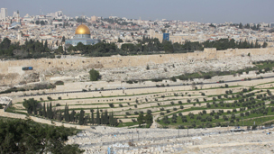 Jerusalem, with the Dome of the Rock glinting in the sun