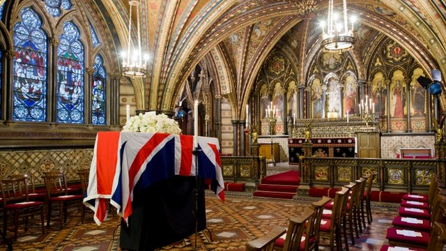 The coffin of British former Prime Minister Margaret Thatcher rests in the Crypt Chapel of St Mary Undercroft