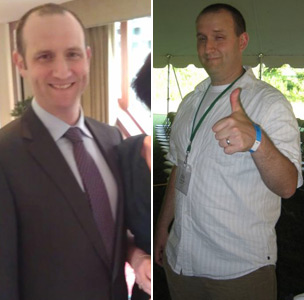 Paul Goldsmith (left, now and right, at 17 stone)