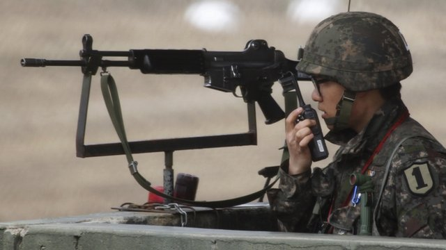 A South Korean soldier near the North Korean border