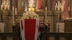 Baroness Thatcher's coffin