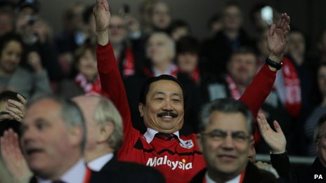 Cardiff City chairman Vincent Tan celebrating his team's promotion