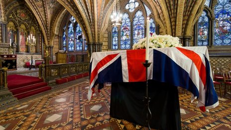 The coffin of former British prime minister Margaret Thatcher rests in the Crypt Chapel of St Mary Undercroft beneath the Houses of Parliament