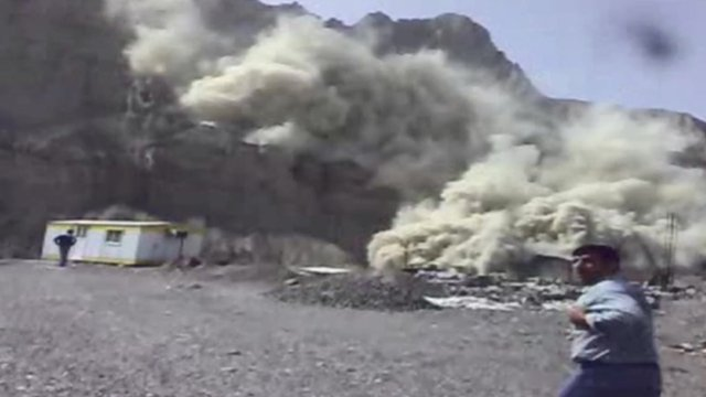 Still from video footage of the impact of a powerful earthquake in south-eastern Iran, 16 April 2013