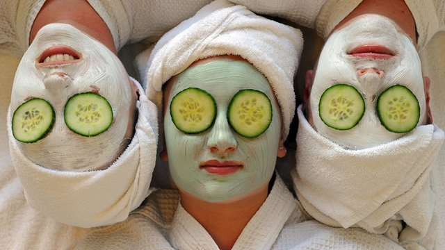 Women undergoing beauty treatments