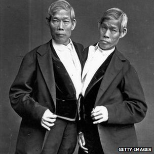 Circa 1865: Chang and Eng Bunker (1811-1874)
