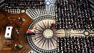 Overhead view of Lady Thatcher's coffin in St Paul's Cathedral