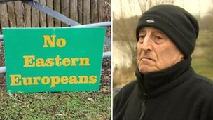 Eddie Whitehead and the sign he put up at Dog Lane Fishery