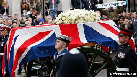 "The coffin is carried on a gun carriage drawn by the King""s Troop Royal Artillery"