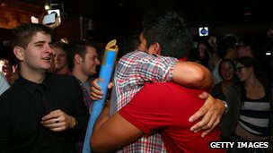 Celebrations begin at the Caluzzi Bar and Cabaret venue after New Zealand MP's gathered today to vote on the gay marriage bill at Parliament House on 17 April 2013