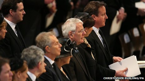 Former Prime Ministers Tony Blair, John Major and Prime Minister David Cameron attend the funeral service