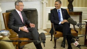 U.S. President Barack Obama meets Singapore's Prime Minister Lee Hsien Loong 2 April 2013
