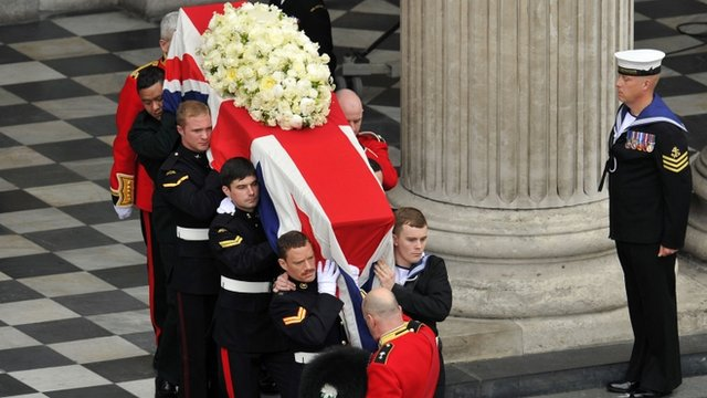 Baroness Thatcher's coffin being carried out of St Paul's