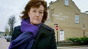 Jane Corbin in front of Leyton Sharia Council in east London