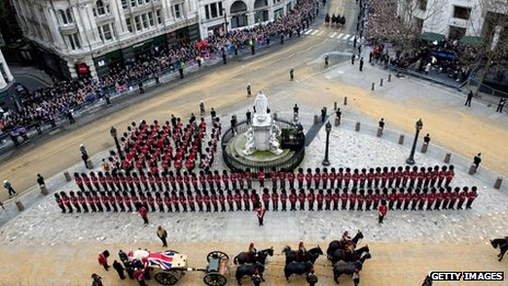 The coffin of former British Prime Minister Baroness Thatcher arrives at St Paul's Cathedral on April 17, 2013 in London, England