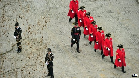 "Chelsea Pensioners arrive for the ceremonial funeral of British former prime minister Margaret Thatcher at St Paul""s Cathedral in central London on April 17"