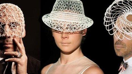 3D printed hats from MGX, copyright Thomas Vanhaute,  Raffaella Quaranta