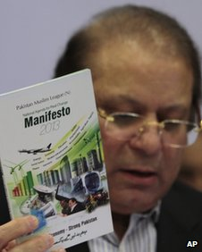Former Prime Minister of Pakistan and opposition leader Nawaz Sharif presents his party manifesto in March 2013