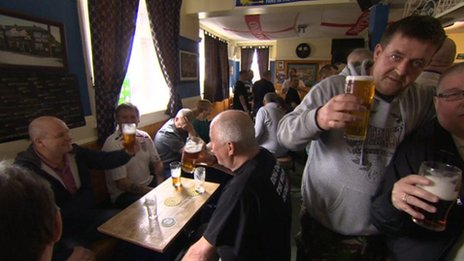 People 'celebrate' the funeral of Margaret Thatcher at the Minsthorpe Hotel, South Elmsall, West Yorkshire