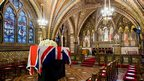 The coffin of British former prime minister Margaret Thatcher rests in the Crypt Chapel of St Mary Undercroft beneath the Houses of Parliament.