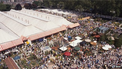 Overview of the Great Pavilion at Chelsea Flower Show in the 1990s