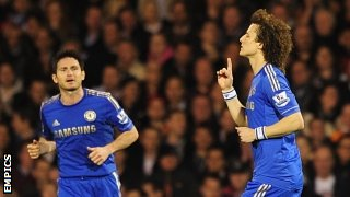 David Luiz (right) celebrates scoring for Chelsea