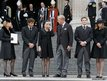 Members of Margaret Thatcher's family (left-right) Daughter Carol Thatcher and partner Marco Grass, Sarah Thatcher, wife of son Mark Thatcher, and grandchildren Michael and Amanda Thatcher