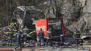 Scene of French Alps coach crash