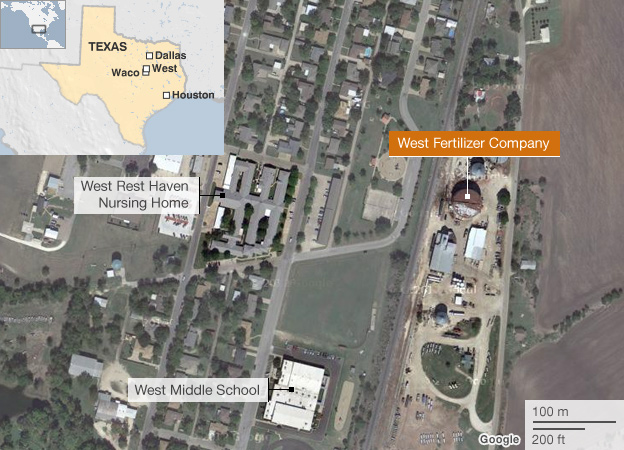 Map of scene of explosion at West, Texas