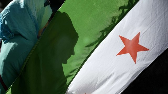 A woman's shadow is cast onto the Syrian National Coalition flag