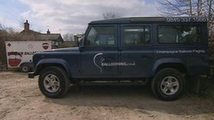 Vehicles parked up at Go Ballooning's HQ