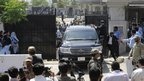 Pakistan's former President Pervez Musharraf leaves the High Court in Islamabad, Pakistan  April 18, 2013.