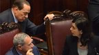 Silvio Berlusconi and other politicians in the Italian Parliament April 18 2012