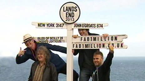 Chris Evans, James May, Professor Brian Cox and Gary Barlow at Land's End