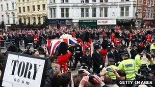 Protestors at Margaret Thatcher's funeral